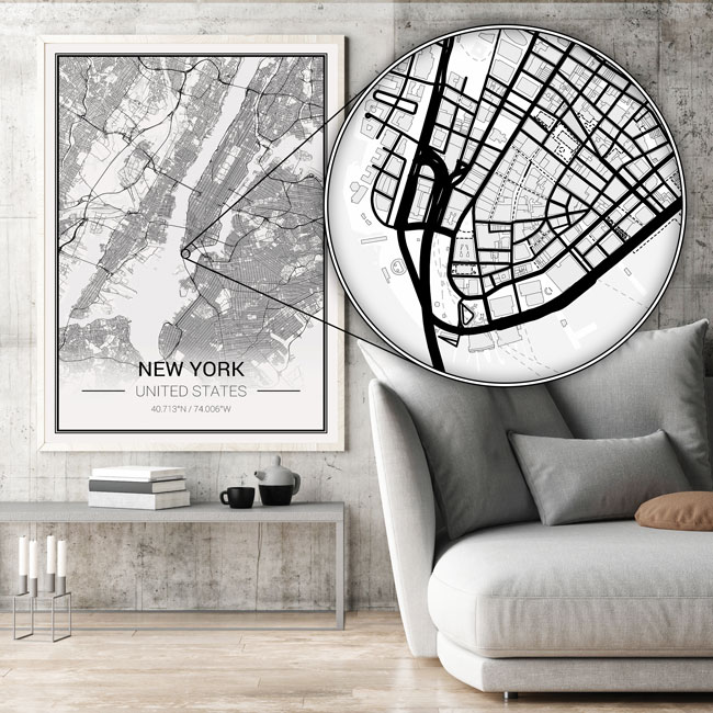 Mapify custom map posters amazing detail downtown New York closeup